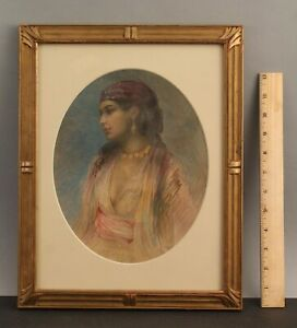 Antique Orientalist Watercolor Painting Gypsy Woman, Carved Arts & Crafts Frame