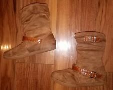 WOMENS GIRLS TRENDY COMFY FLAT BUCKLE DESIGN FUR LINED ANKLE BOOTS: UK SIZE 4