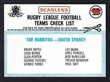 SCANLENS 1977 SOUTHS  CHECK LIST UNMARKED