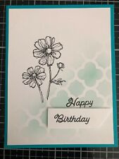 Card Kit Set Of 4 Stampin Up Flowers HAPPY BIRTHDAY Stencil In Coastal Cabana