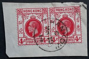 1914 Hong Kong Pair of 4c Red KGV stamps on piece cd Hankow