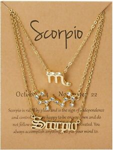 Zodiac Star Sign 3 Piece Necklace Gift Set. Choose Your Sun Sign, Constellation