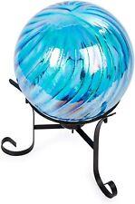 """10"""" Garden Gazing Globe Teal Pleated Swirl Lawn Yard ornament"""