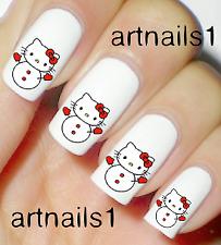 Hello Christmas Kitty Xmas Nail Art Water Decal Stickers Mani Salon Polish Gift