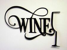"11"" Black Elegant Wine  Glass Home Decor Sign for Kitchen Bar Christmas Gift"