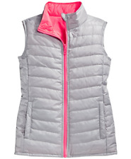 Layer 8 Little Girls Reversible Packable Puffer Vest (Silver/Punch Solid, Large)