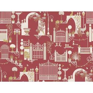 Garden Pattern Wallpaper Trees Birds Cats Metallic Madeline Red White 502-A