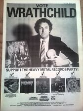 WRATHCHILD / DIANNO albums 1984 UK Poster size Press ADVERT 16x12 inches