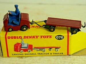GENUINE OLD DINKY DUBLO 076 LANSING BAGNALL TRACTOR & TRAILOR IN ORIGINAL BOX