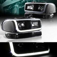 Black Drl Led Headlights+Bumper W/Clear Reflector Fit 99-06 Gmc Sierra 1500/2500 (Fits: Gmc)