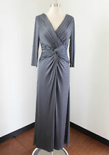 Jovani Gray Draped Ruched Evening Dress Formal Gown Size 6