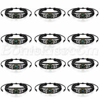 Handmade 12 Constellation Zodiac Pendant Beads Braided Leather Bangle Bracelet