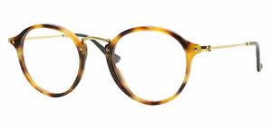 Rayban RB 2447V Gold Tortoise 5494 Round Plastic Eyeglasses Frame 49-21-145 2447