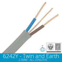 2.5mm Twin and Earth Electric Cable Wire T&E Electrical Ring Main Sockets Plug