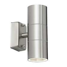 Endon Canon up down outdoor wall light IP44 35W Polished stainless steel & glass