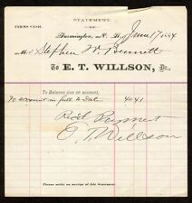 1884 Medical Receipt Dr. E.T. Wilson Farmington New Hampshire to Stephen Bennett