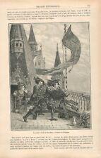 La grande Crécelle de Nuremberg Nürnberg treuil Cloches Allemagne  GRAVURE 1881