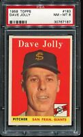 1958 Topps Baseball #183 DAVE JOLLY San Francisco Giants PSA 8 NM-MT