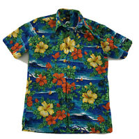 Squish Wear Aloha Hawaiian Short Sleeve Button Front Shirt Men's Size S Blue