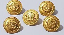 5 x Vintage Bright Gold Detailed Designer Style Shank Button 16mm FREE POSTAGE