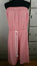 """Gap """"The Now Dress"""" Size Large Red White Stripe Summer Nautical Rope Belt"""