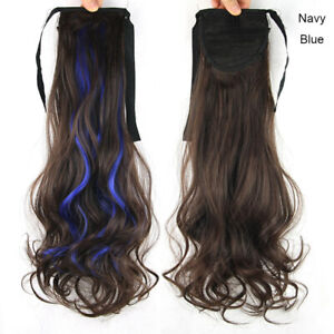Mixed Color Curly Ponytails Clip in Hair Piece Long Wrap Around Hair Extensions