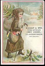 Tdcd - Santa Father Christmas in Brown Coat w Christmas Bush & Satchels of Toys