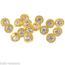 50PCs Golden Rhinestone Acrylic Buttons Round Shank Jewelry 10mm