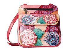 Anuschka Hand Painted Rosie Reverie Multi Pocket Travel Crossbody