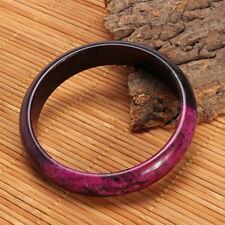 Black & Purple Plum Peach Blossom Flower Natural Xiuyan Jade Bangle Bracelet NEW