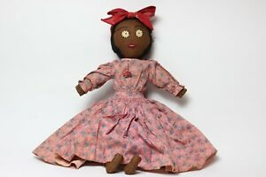 Antique Black Americana Cloth Girl Doll, Original