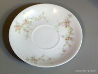 3 SAUCERS ANTIQUE THEODORE HAVILAND china PICTURED pattern PINK ROSES ~ France