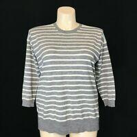J.Crew Large Sweater Top 100% Merino Wool Gray Cream Aqua Stripe Color Block LN