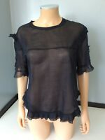 Isabel Marant Black Blouse Top Short Sleeve Size 40 Uk 12 Vgc
