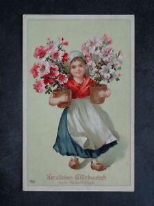 KINDER - Mädchen Holländerin Geburtstag Blumen Hibiskus geprägt ! - 1908