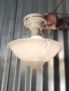 Vintage Antique Hanging Glass Ceiling Lamp Light Fixture chandelier white Chains