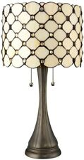 Tiffany Bronze Table Lamp Jeweled 21 in. Hand Crafted White Cream Glass Shade