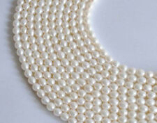 Genuine 6-7mm Natural White Freshwater Pearl Rice-shaped Loose Beads 15''
