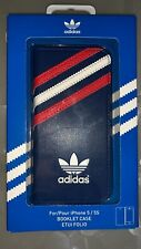 ADIDAS Genuine Booklet Case For Iphone 5/5s (Blue with Red/White Stripes)