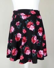 H&M Black Pink Mini Floral Roses Flare Stretchy Casual Zip Trendy Girly Skirt XS
