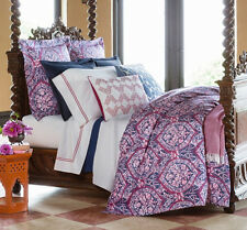Sferra ROWYN Queen Duvet Cover 5 PC Set Navy/Berry Egyptian Cotton Percale New