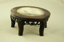"""6.88"""" Antique Chinese Hand Carved Footed old Wood Stand Jade in the inside NR"""