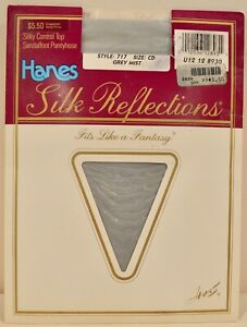 Hanes Silk Reflections Control Top Pantyhose 717 Reinforced Grey Mist Size CD