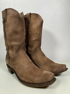 Men's Lucchese Boots Livingston Tan Suede Leather Handmade Size 13 N1701.74