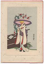 Beautiful older Japanese Woodblock Print of Geisha w/ Parasol on Christmas Card