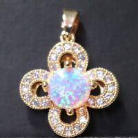 2 Ct Round White Fire Australian Opal Pendant 14K Yellow Gold Jewelry YO55