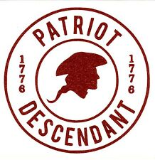 Revolutionary War  Descendant Decal Red Glitter plus Free Shipping