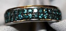 Sterling Silver Band set with 70+ Blue Diamonds Size 6