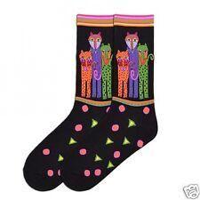 Laurel Burch Black Polka Dot Tall Leopard Cats Ladies Womans K.bell Socks New