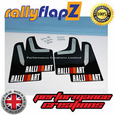 Rally Style Mud Flaps to fit Mitsubishi Evolution 4 Black Logo White R&O 3mm PVC